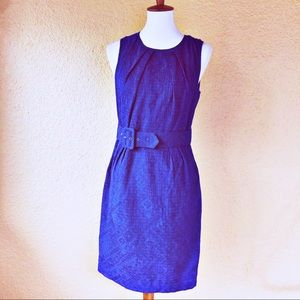 Trina Turk Sheath Dress Belted Blue Jacquard 8
